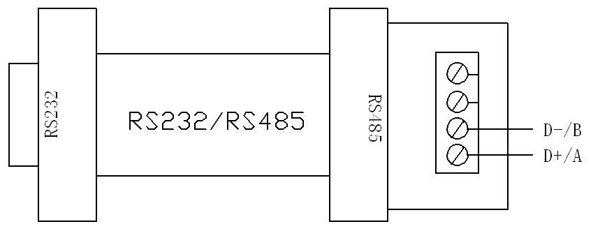 """并将""""rs485-232转换器""""的九针串口与计算机连"""