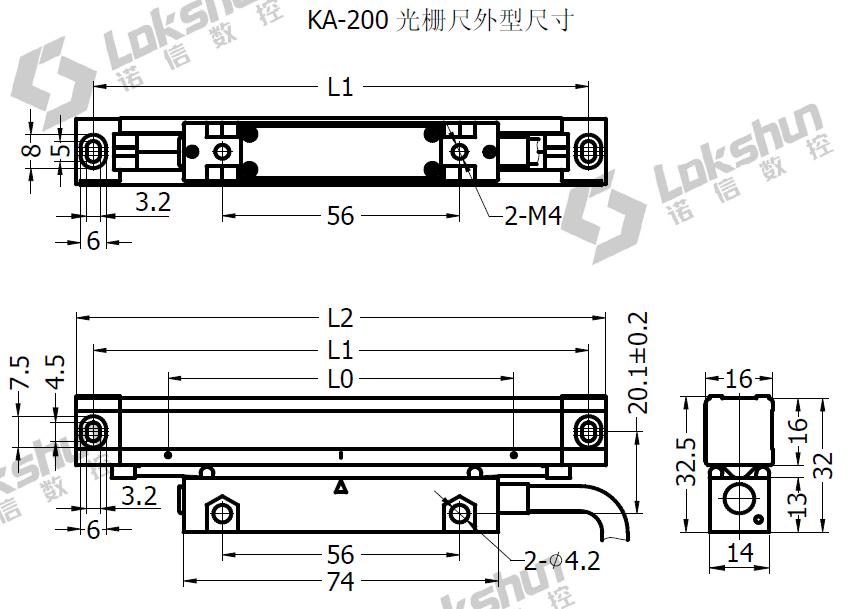 KA-200系列(微微型尺) 截面积16*16MM  KA-200系列光栅尺是超小型光栅尺,国内最小的光栅尺,尺身截面积只有16*16MM, 量程30-360MM每隔10MM一档 分辨率有5UM 1UM 0.5UM多种选择。  量程36-360mm,每隔50MM一种量程 电源:5V+5%,80mA 分辨率为:5um(0.005mm) 精度:+3um,+5um,+15um(20+0.