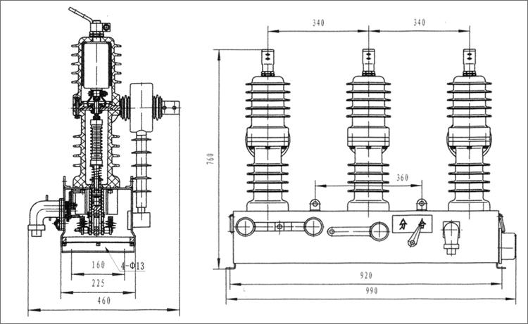 柱上开关zw32-12f/630-20真空断路器