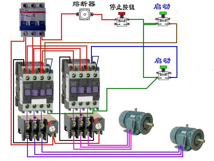 防爆磁力启动器实物接线抽象图