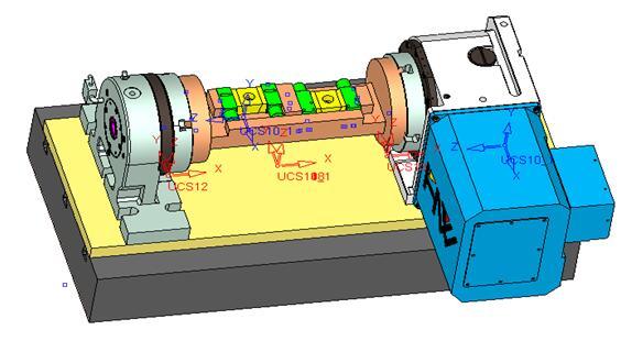 两套液压夹具设计为2个工序分别在Ⅰ,Ⅱ两台计算机控制立式铣加工中心图片