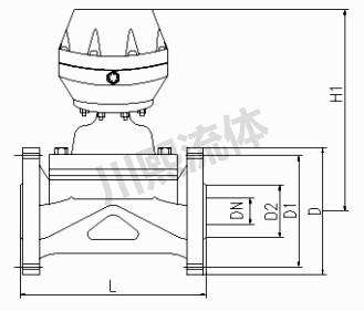 气动PVC法兰隔膜阀尺寸图