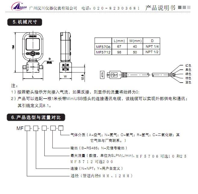 mf5712-n-200气体质量流量计-操作说明