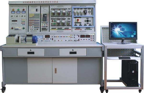 """HKW-92B型 高性能中级维修电工及技能培训考核实训装置 一、概述 本装置是根据劳动和社会保障部颁发的""""工人等级标准""""和""""职业技能鉴定""""的要求而设计的,它适用于《初级维修电工》、《中级维修电工》和《高级维修电工》教材要求的电气控制线路,通过装置配备的PLC可编程控制器和变频调速器及相应实训模块的训练,快速掌握课程要求的实际应用技术和操作技能,具有针对性、实用性、科学性和先进性,它能满足中、高级维修电工考核大纲的要求,是各劳动职业技能鉴定部门、大中专院校、技"""