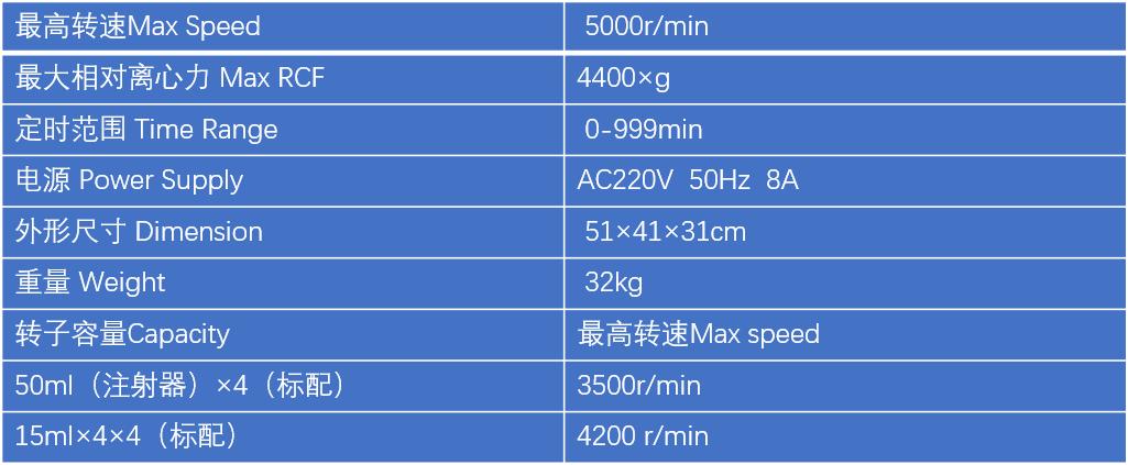 医用美容离心机DT5-2技术参数